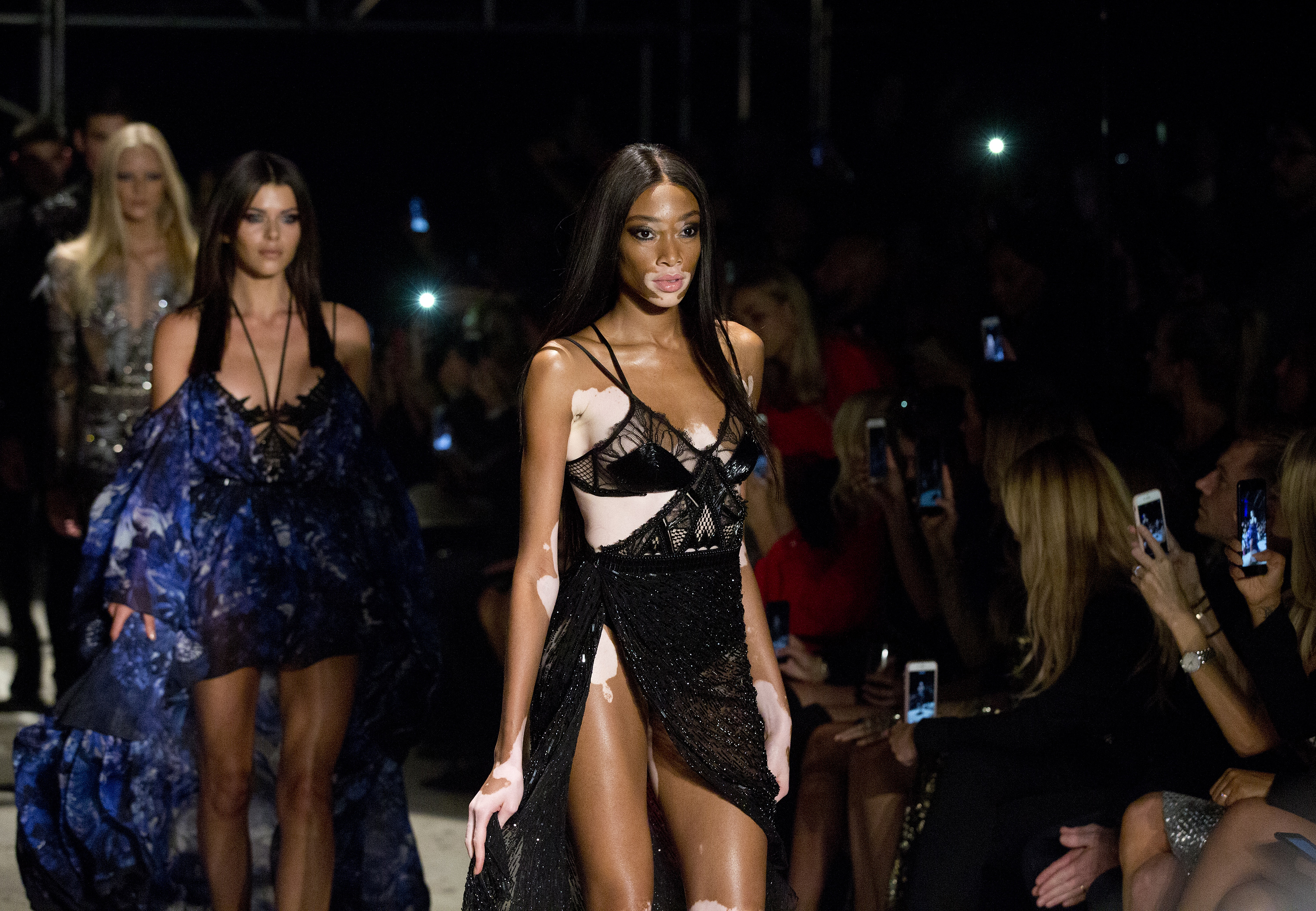 Winnie Harlow walked for the designer too ( Isabel Infantes/PA)