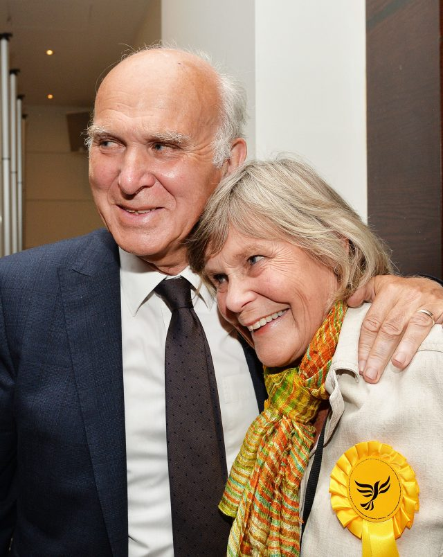 Sir Vince Cable with his wife Rachel
