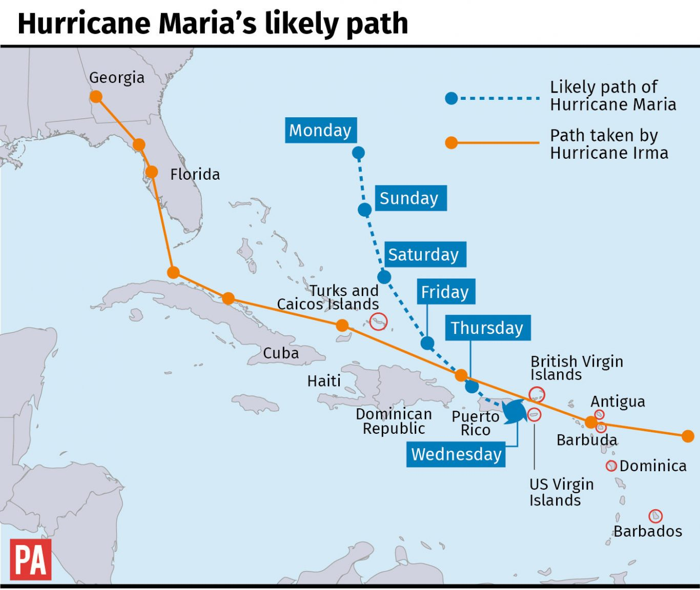 UKs Caribbean Territories Braced For Potentially Catastrophic - Mental health needed in us virgin islands on a map