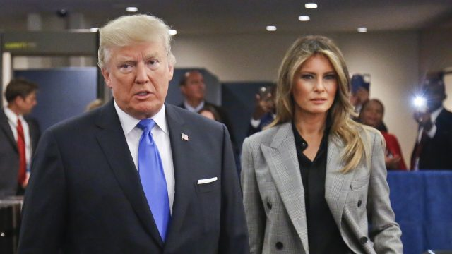 President Donald Trump with first lady Melania Trumparrive for the meeting of the UN General Assembly (Bebeto Matthews/AP)