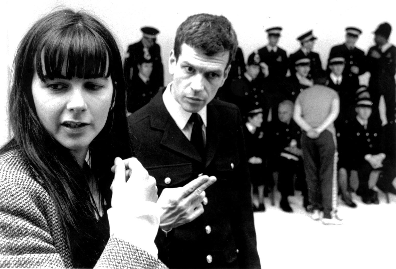 Gillian Wearing with the police officers in the 90s