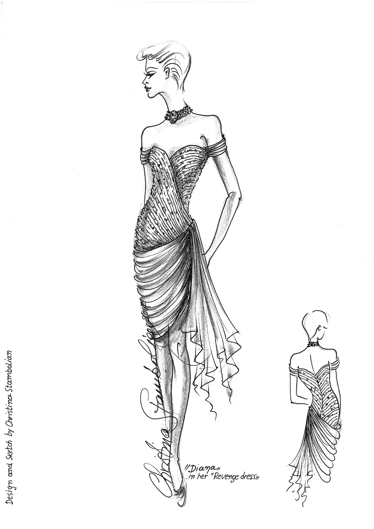 Christina Stambolian's sketch of Princess Diana's dress