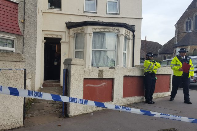 Police outside a property in Thornton Heath, south London, after a teenager was arrested by detectives investigating the Parsons Green terrorist attack (Catherine Wylie/PA)