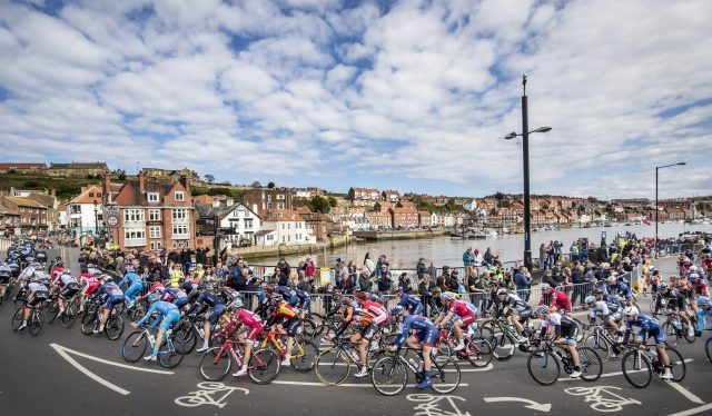 The riders make their way through Whitby