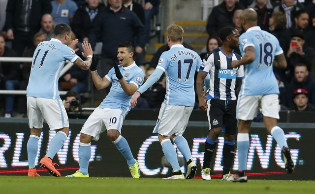 Another goal, another celebration for Aguero (Owen Humphreys/PA)