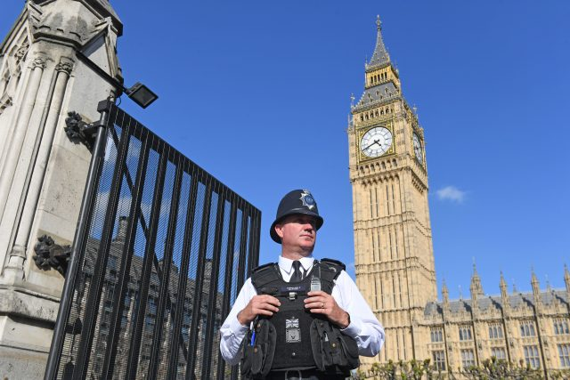A new set of security gates which have been installed at the Carriage Gates entrance to the Houses of Parliament following the Westminster terror attack.