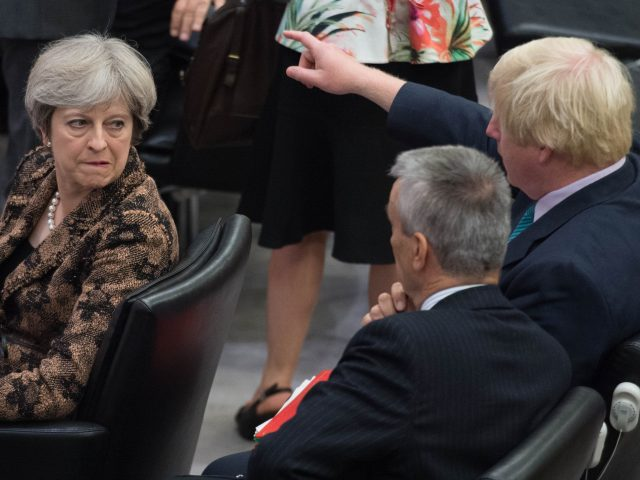 Foreign Secretary Boris Johnson and Prime Minister Theresa May during the United Nations General Assembly in New York