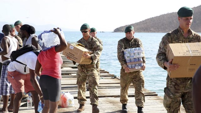 Royal Marines deliver aid and provide support to the islanders of Jost Van Dkye, British Virgin Islands (Ministry of Defence/PA)