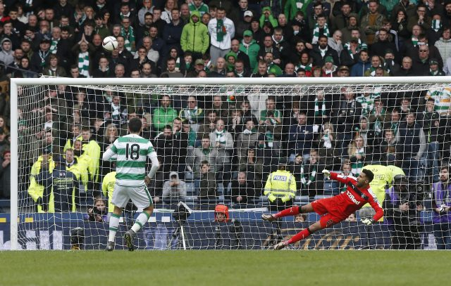 Tom Rogic misses his penalty to give Rangers victory