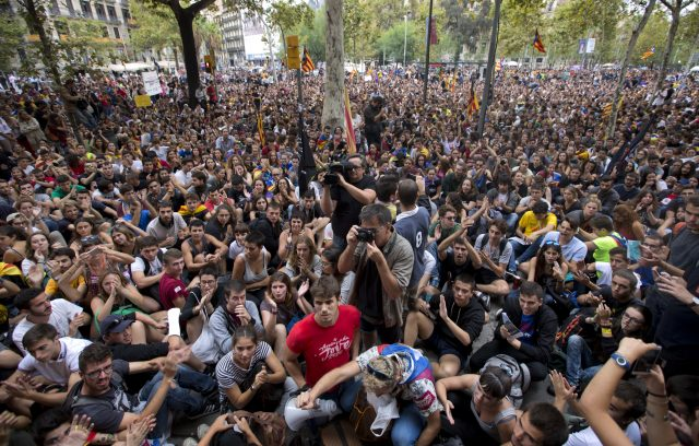 Student protesters in Barcelona