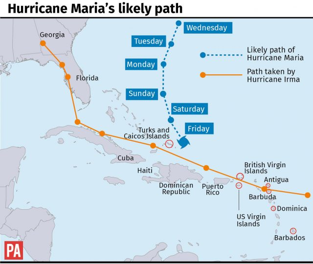Hurricane Maria's likely path