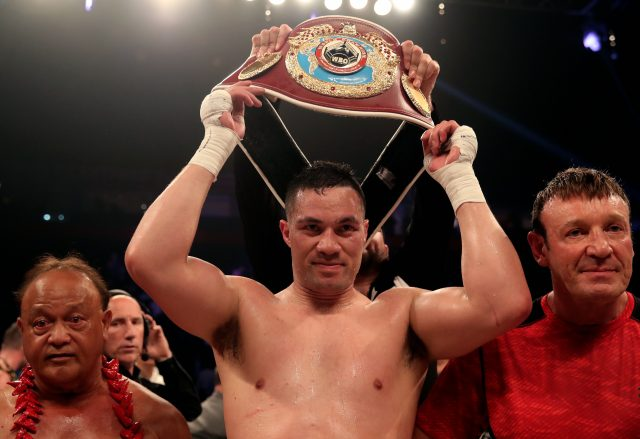 Joseph Parker holds aloft his WBO heavyweight crown (Nick Potts/PA)
