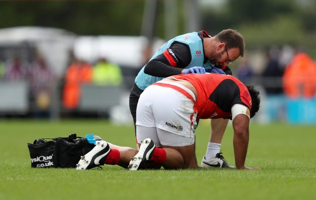 Vunipola is treated for injury during last season's Premiership semi-final in May