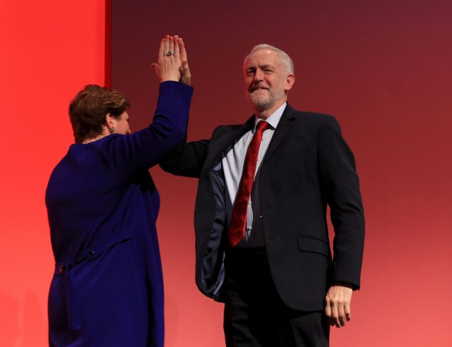 Labour leader Jeremy Corbyn congratulates shadow foreign secretary Emily Thornberry following her speech at the Labour Party conference