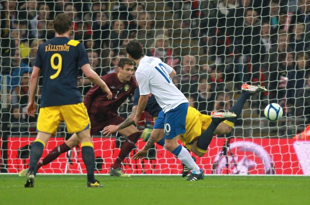 Gareth Barry scores for England in 2011