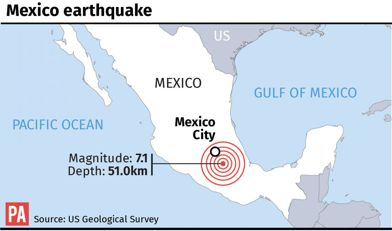 Map locates earthquake in Mexico