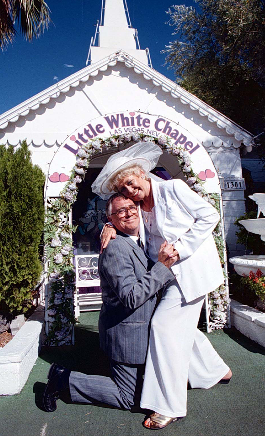 Jack (Bill Tarmey) went down on one knee as he asked Vera (Liz Dawn) to tie the knot again during the filming of a Coronation Street Video Special in Las Vegas (Dave Kendall/PA)