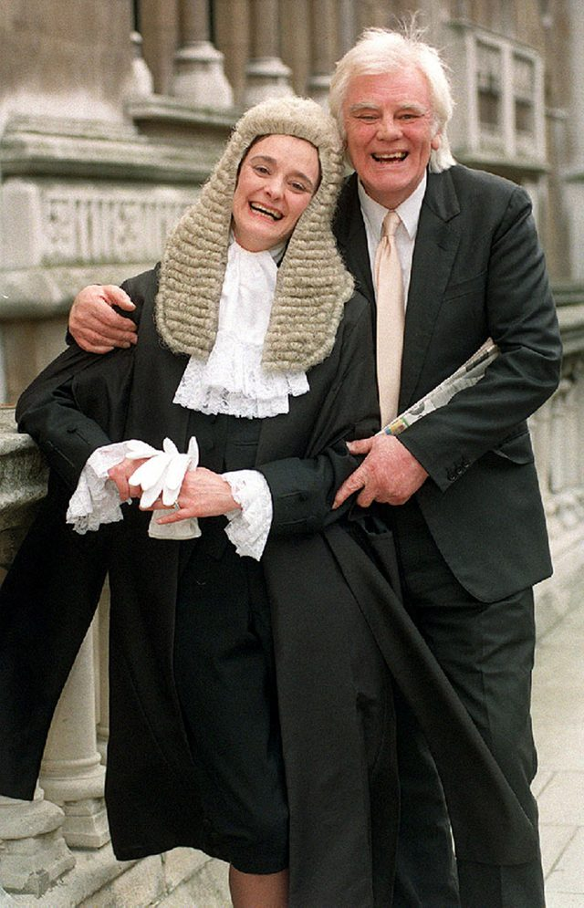 Tony Booth outside the High Court with his daughter