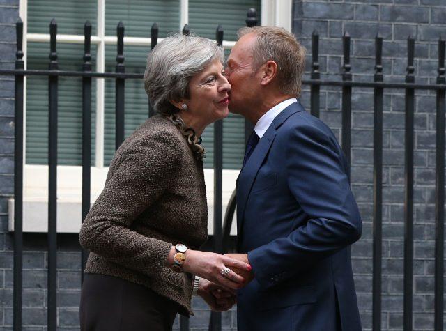 Theresa May greets Donald Tusk at 10 Downing Street