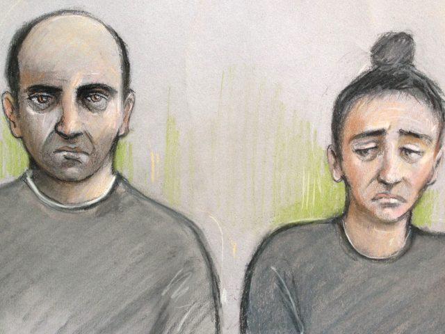 Court artist sketch  of Ouissem Medouni  and his partner Sabrina Kouider (Elizabeth Cook/PA)