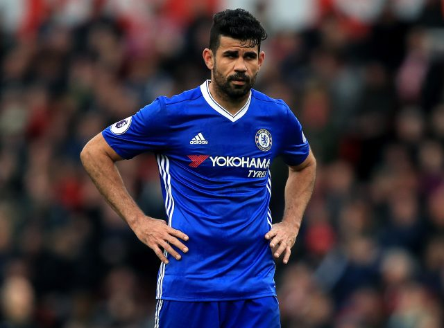 Diego Costa greets former Chelsea teammates prior to Atletico Madrid tie
