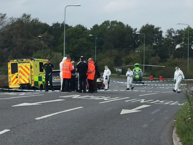 The scene on the A369 in Portishead, near Bristol