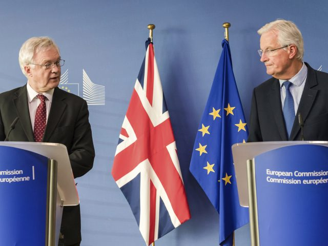 Brexit Secretary David Davis meets EU chief negotiator Michel Barnier in Brussels