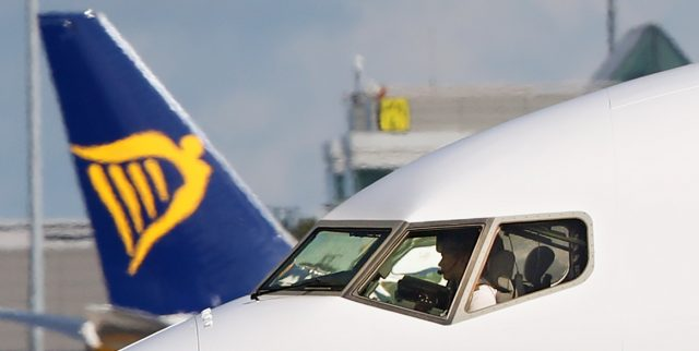 A Ryanair pilot lands at Dublin Airport