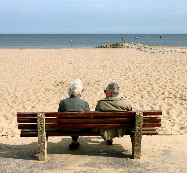 Elderly couple at beach