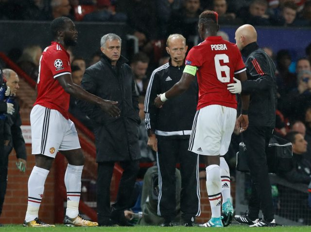 Paul Pogba, second right, suffered a hamstring injury against Basel (Martin Rickett/PA)