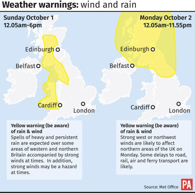 Weather warnings issued by the Met Office for wind and rain