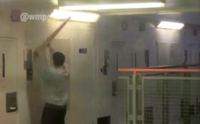 A prisoner rioting