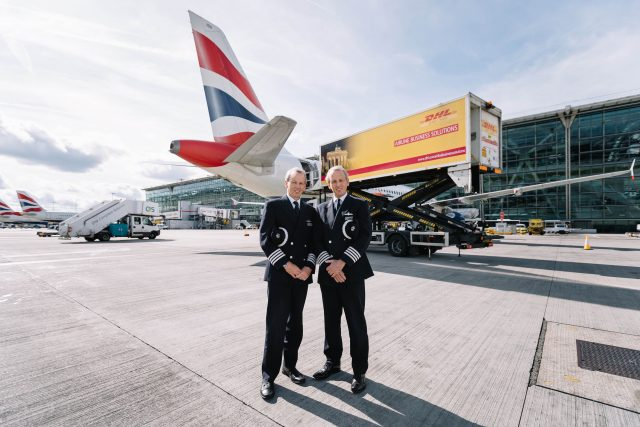 Twins Jeremy, left, and Nicholas Hart, who have retired as British Airways pilots after landing their final flights just 30 seconds apart at Heathrow Airport