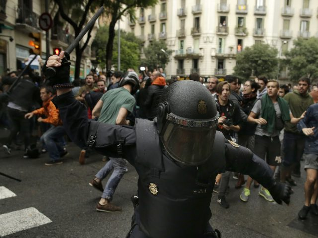 Spanish riot police deployed in Barcelona