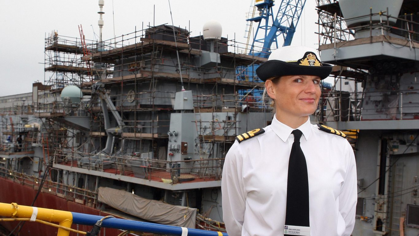 Commander Sarah West takes up her post on the Type 23 frigate HMS Portland in 2012 (David Cheskin/PA)