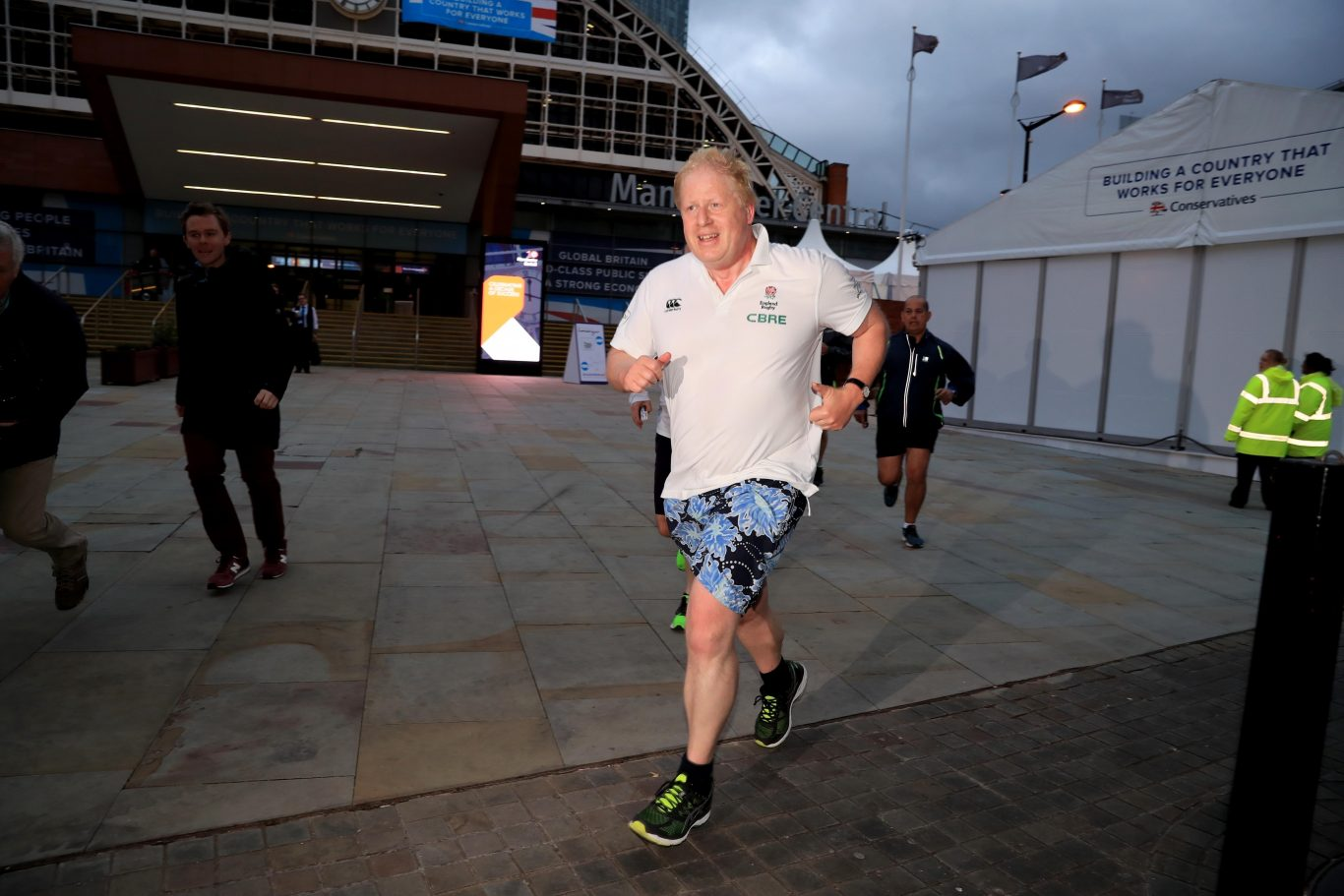 Foreign Secretary Boris Johnson returns to his hotel after an early morning run during the Conservative Party Conference in Manchester (Peter Byrne/PA)