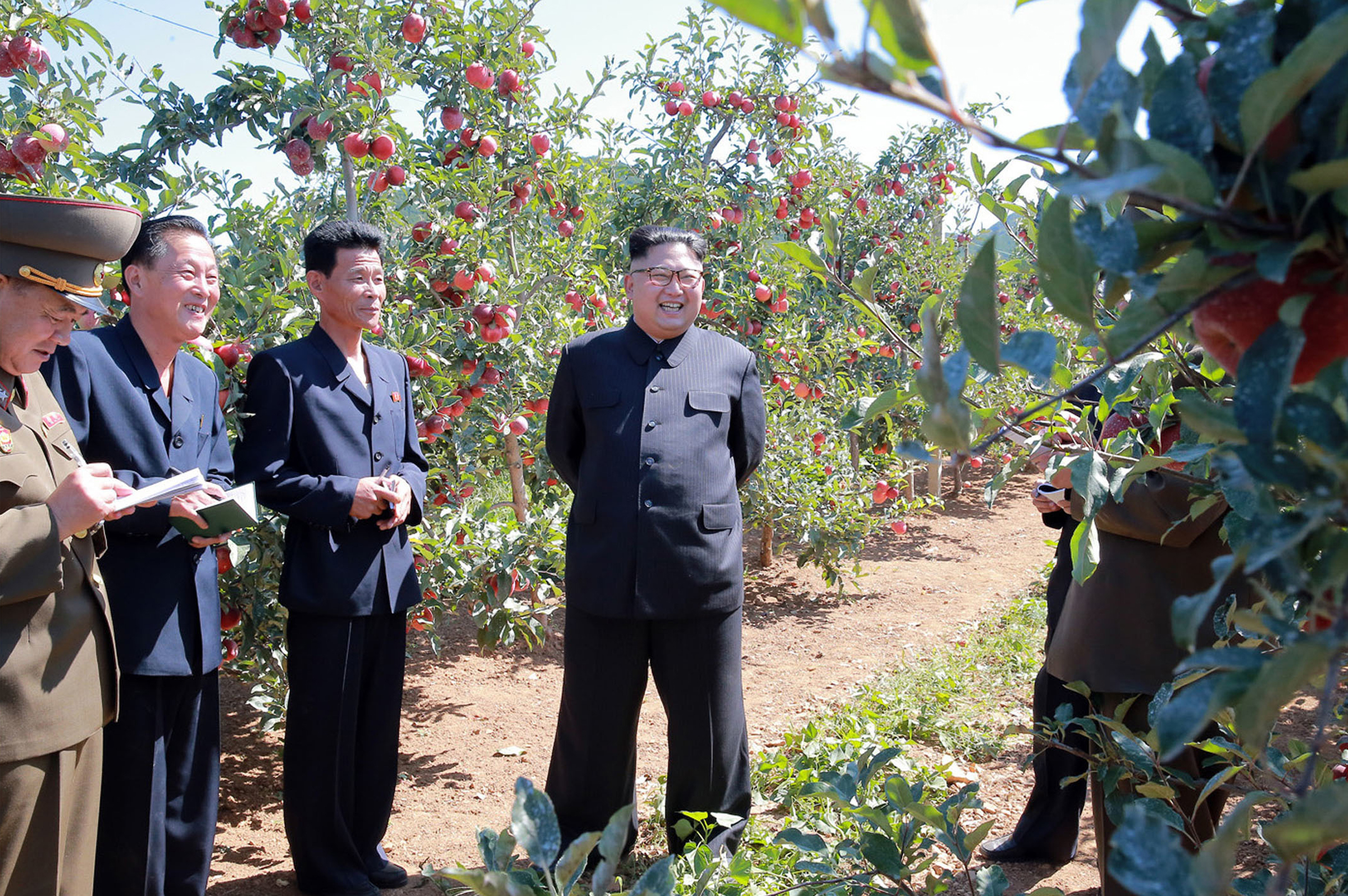 Kim Jong Un visits a fruit farm in Kwail County, South Hwanghae Province, North Korea