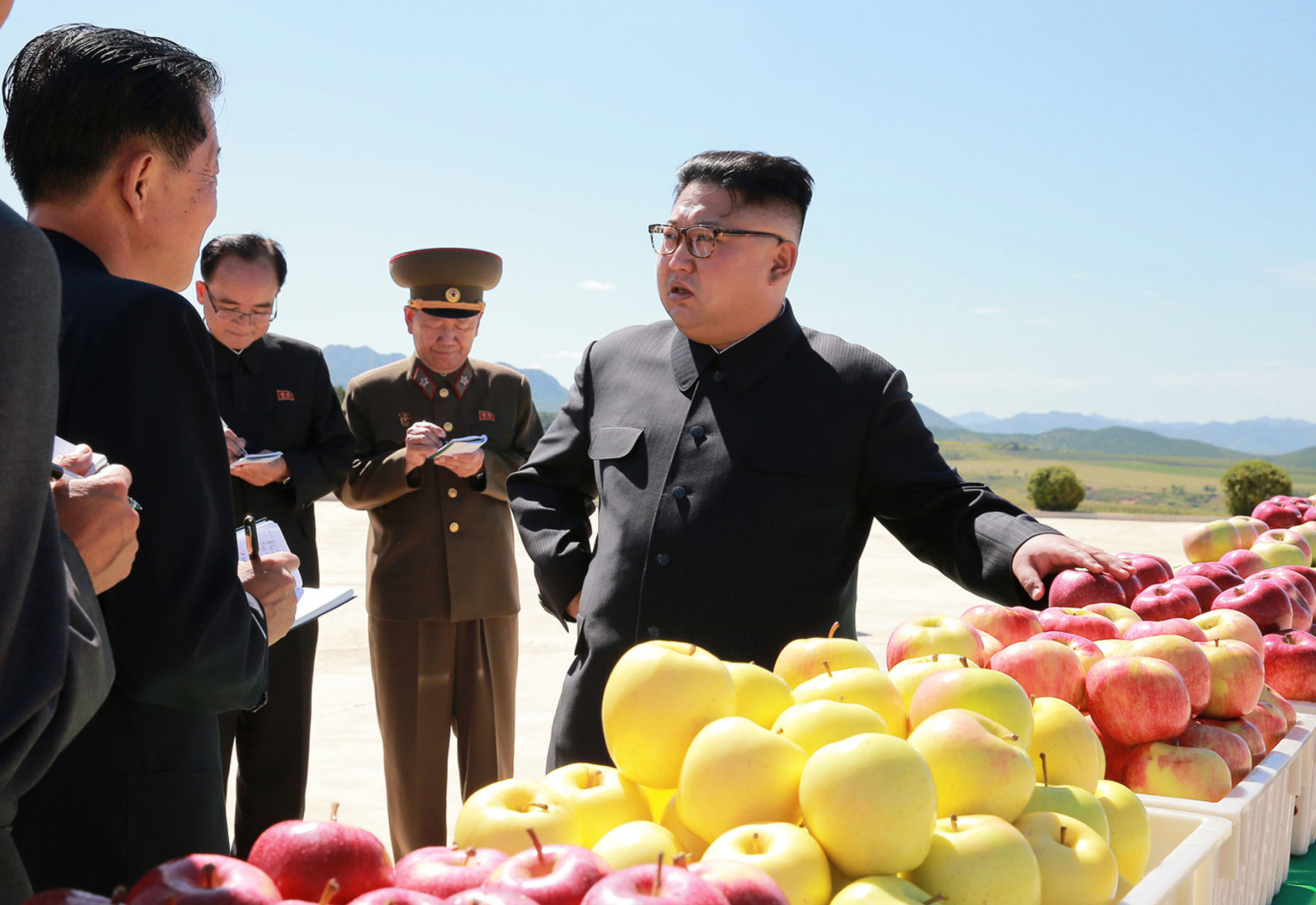 Kim Jong Un visits a fruit farm