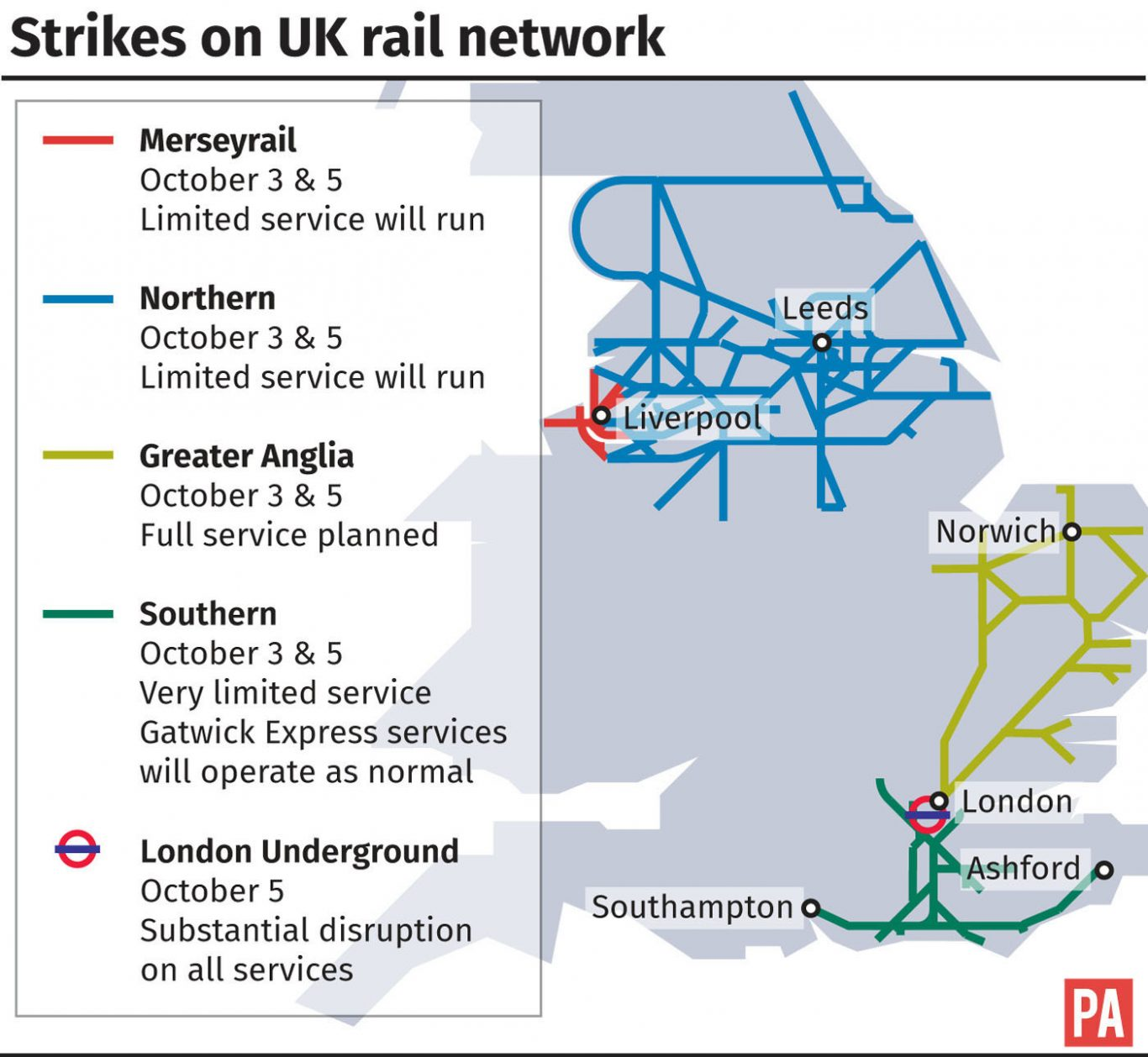 Strikes on UK rail network