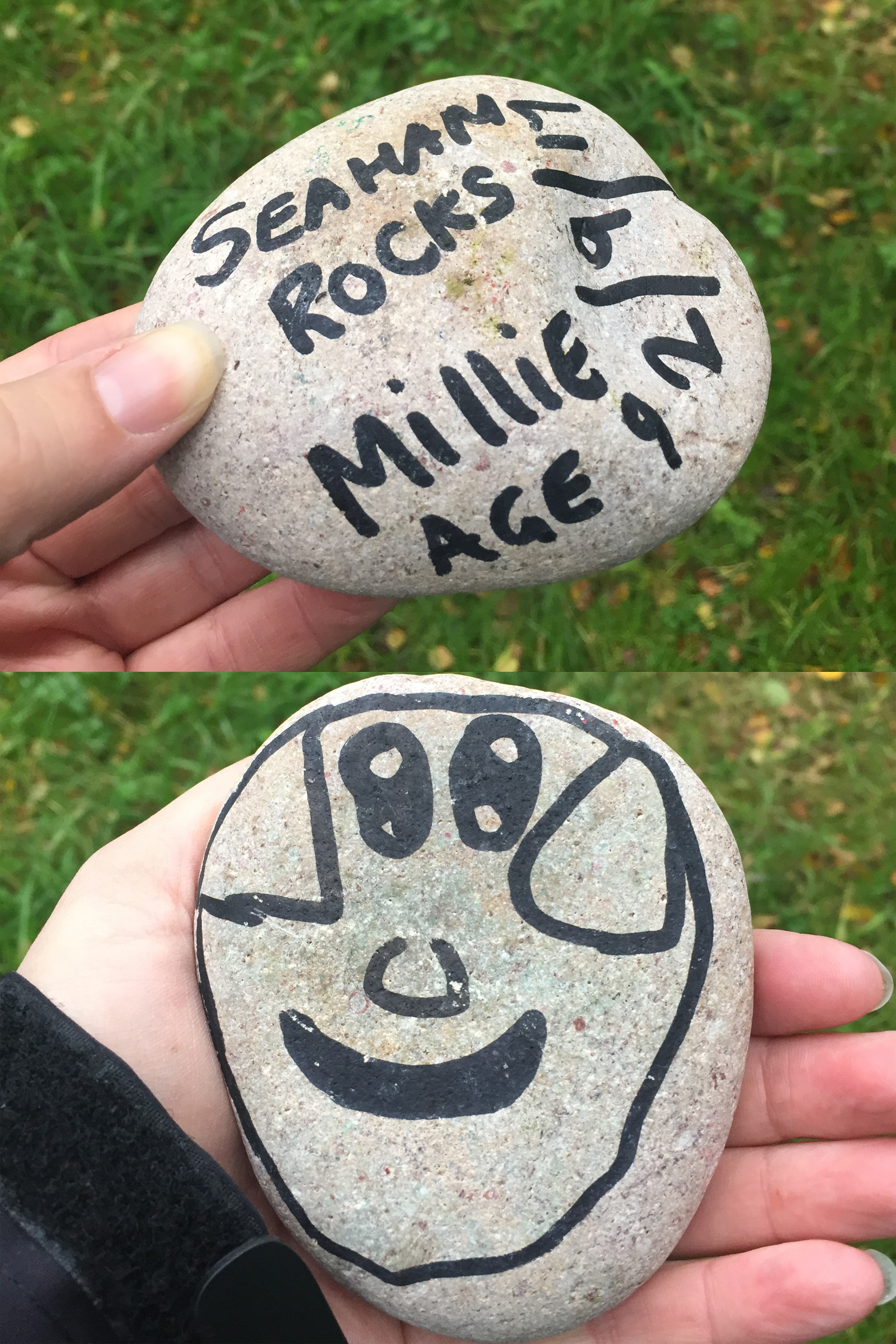 The two sides of a painted rock with sharing details. (PA)
