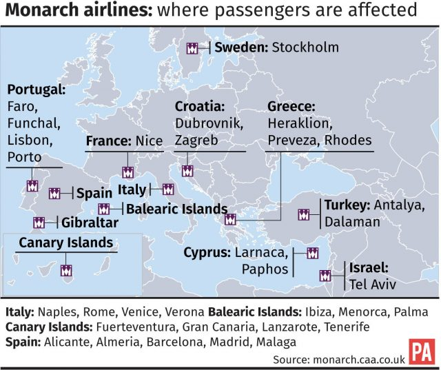 Monarch airlines, where passengers are affected
