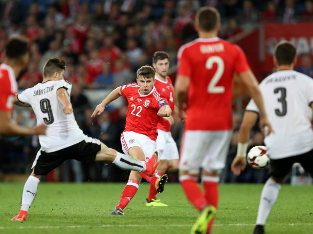 Wales' Ben Woodburn scores his side's first goal during the 2018 FIFA World Cup Qualifying, Group D match at the Cardiff City Stadium