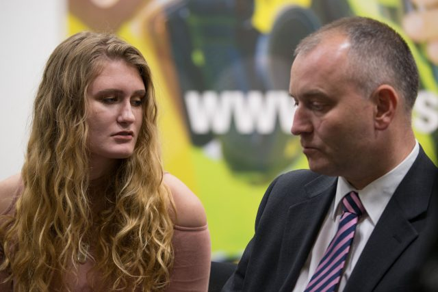 Husband Peter Wilkinson, who survived the attack, and daughter Lydia (Aaron Chown/PA)