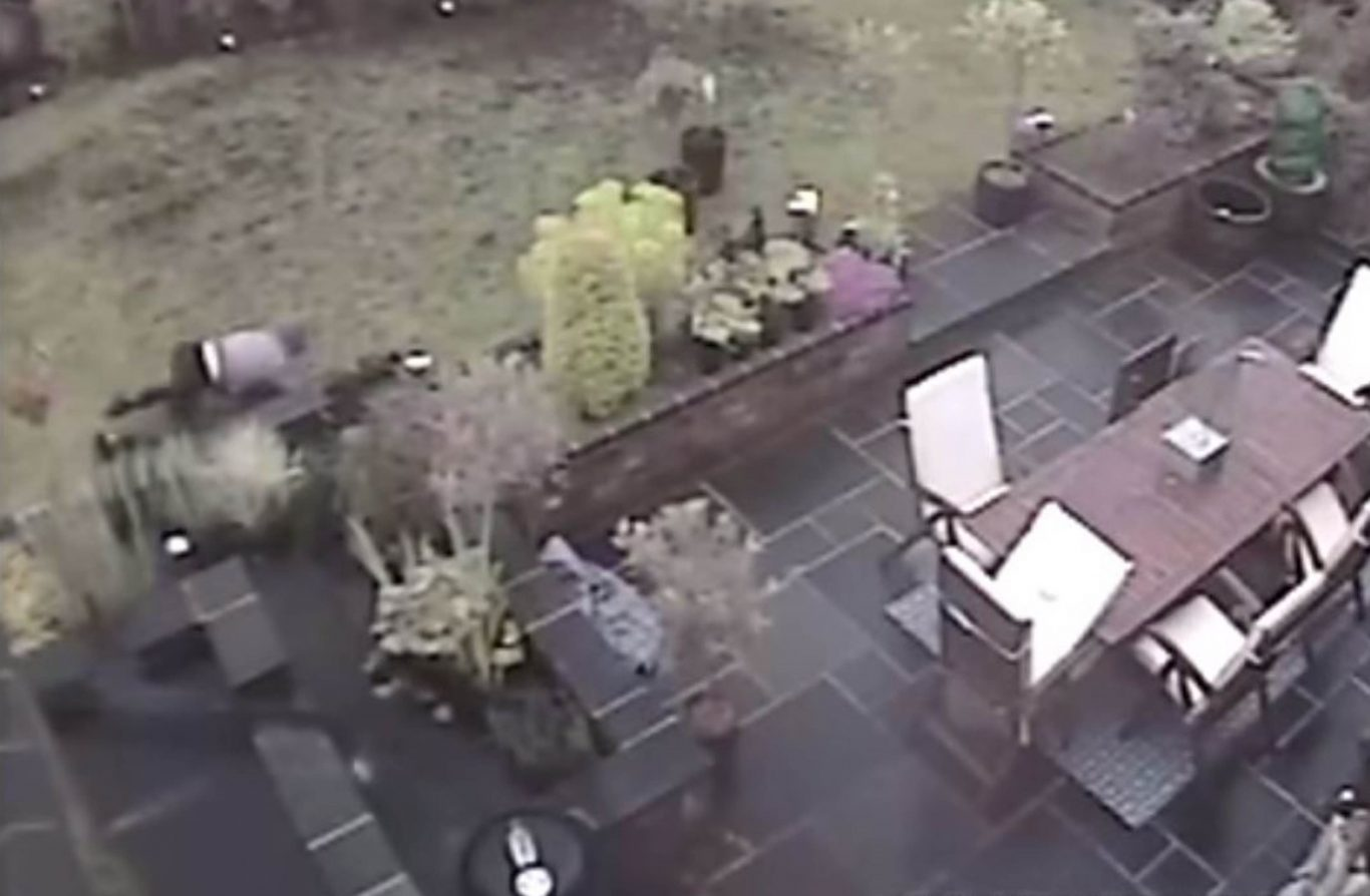 Aaron Barley hiding in the garden of the Wilkinsons' home in Stourbridge before entering their house and murdering Tracey Wilkinson and her son Pierce (CCTV/West Midlands Police/PA)
