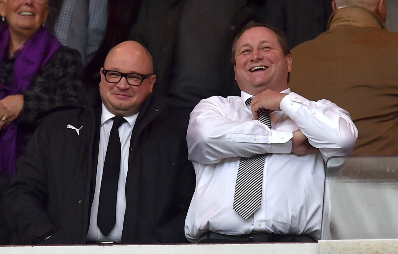 Newcastle United managing director Lee Charnley, left, with director Mike Ashley (Owen Humphreys/PA)
