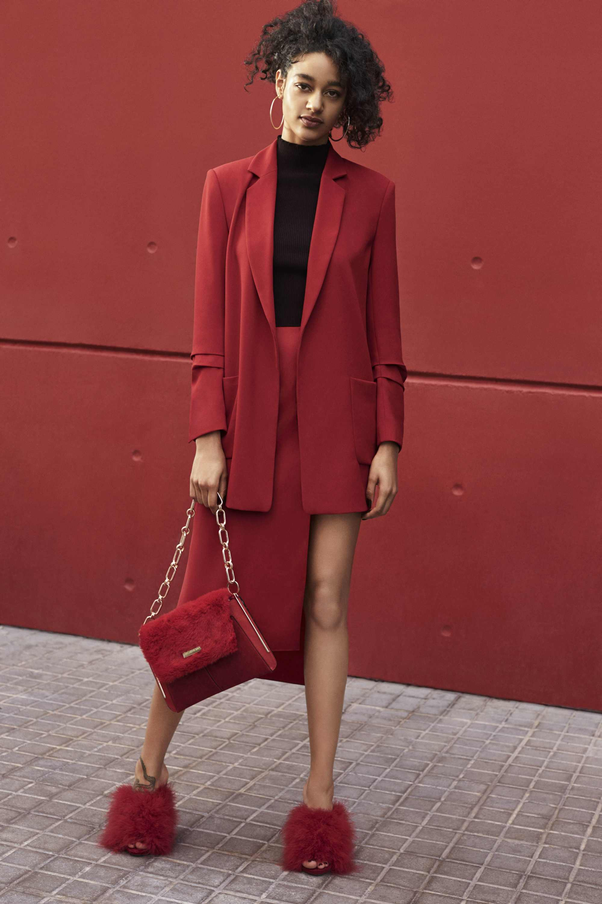 River Island Blazer, £38; Skirt, £35; Bag, £28; Shoes, £65