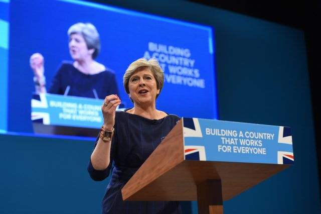 Theresa May delivering her speech to the Conservative Party Conference