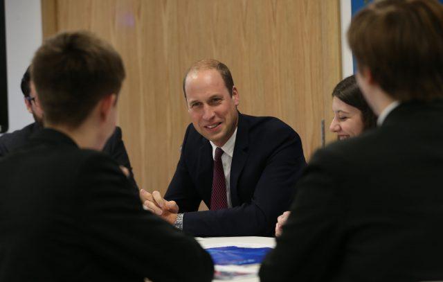 The Duke of Cambridge talks to students
