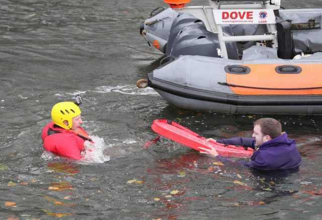 The Duke of Cambridge (not pictured) sees the work of Lagan Search and Rescue during a demonstration