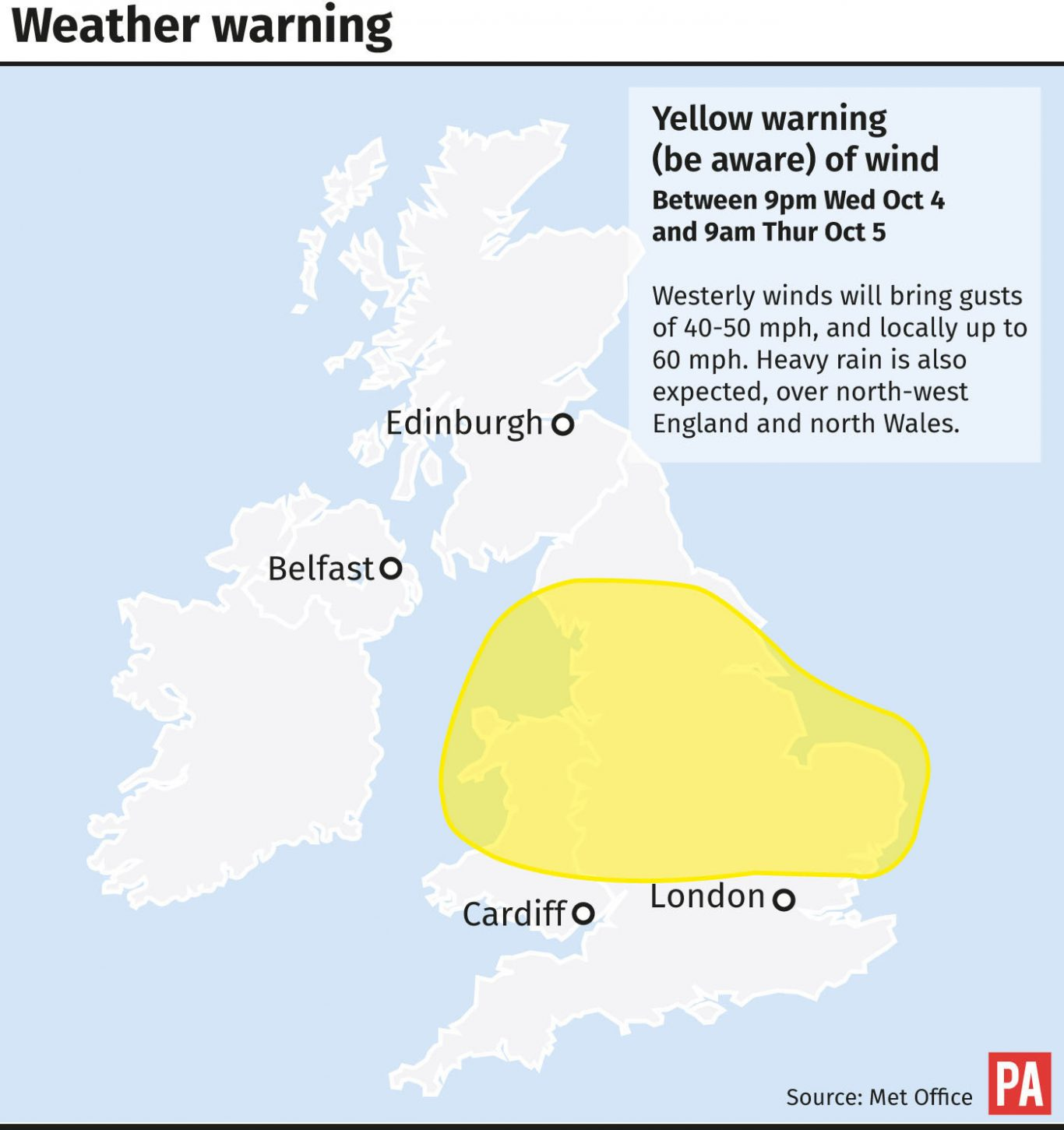 Weather warning issued by the Met Office for wind